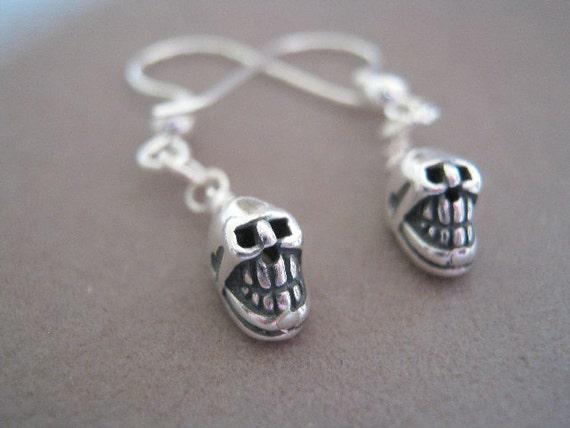Mr Skull Head Sterling Silver Skull Charm Earrings
