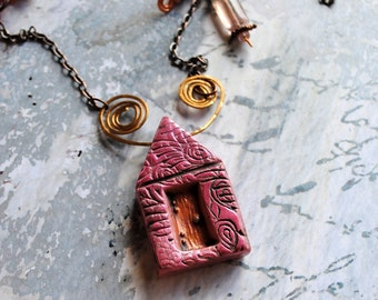 Tropical Pink house, little pink houses, house, home, semi precious stones, mixed metal chains,
