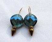 Smoky Blue Spike Crystal Earrings