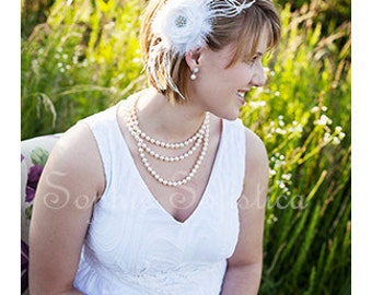 White Satin Rosette Embellished with Diamond Rhinestone, Wispy Ostrich Feathers and French Netting- Bridal Hair Piece - Wedding