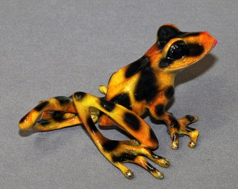 """Bronze Frog """"DELILAH"""" Statue Figurine Amphibian Art (color of live frogs)  / Limited Edition / Signed & Numbered / Gorgeous Color"""