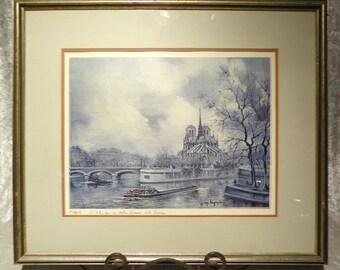 Paris Notre' Dame de la Seine Print - Matted & Framed
