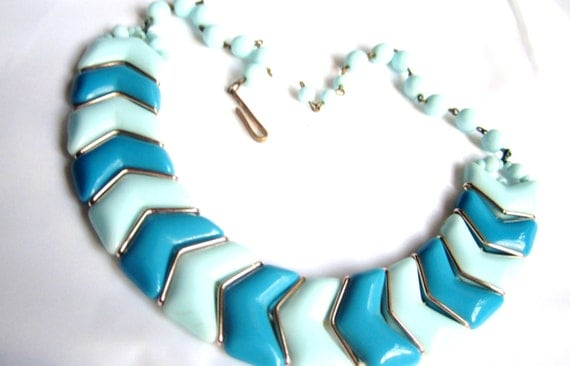 Milk Glass Necklace West Germany Two Tone Blue 1940s Vintage Gift