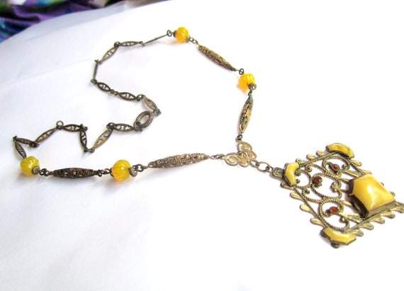 Art Deco Necklace Yellow Czech Glass 1930s Vintage Jewelry Great Gatsby