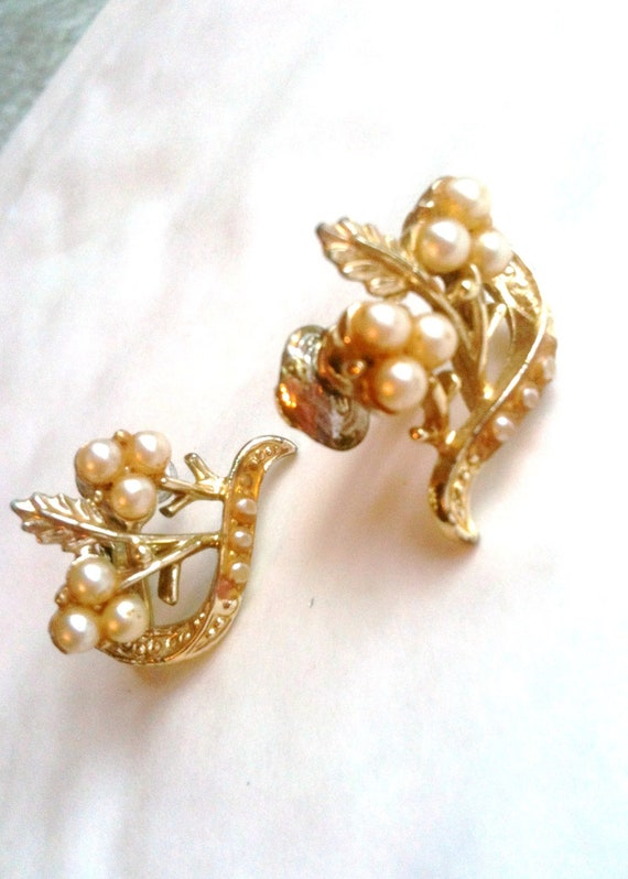 Art Deco Pearl Screw Back Earrings 1920s Vintage Jewelry