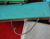 rectangular Blue-green clutch purse with chain, vintage 1960's
