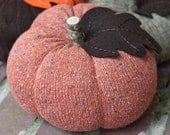 "Upcycled Orange Speckled Sweater Pumpkin 5""x7"", Fall Decor (Item 14)"