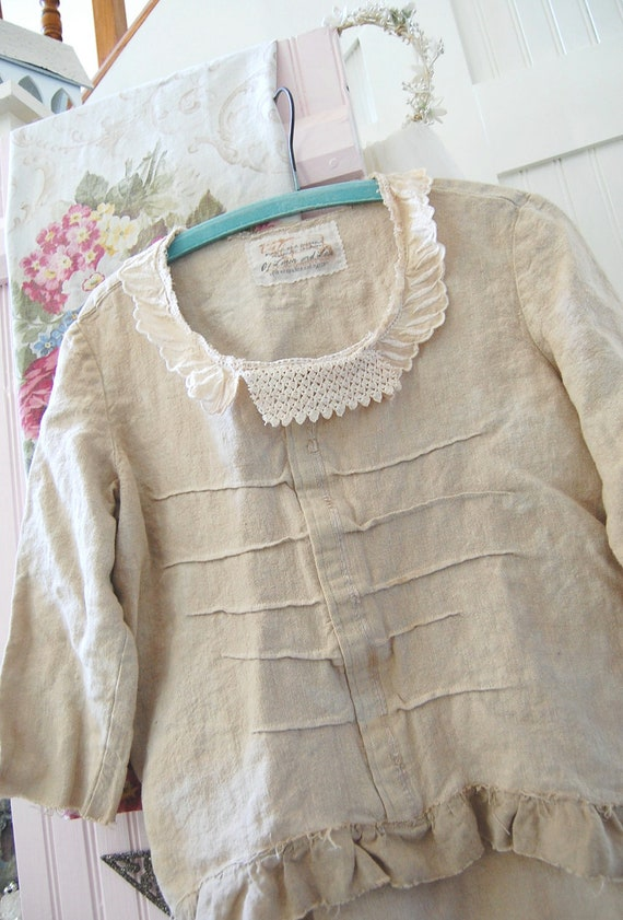 Heavy Linen Pullover Tunic Wheat SMALL Shabby Vintage Crochet Doily Rustic Tattered Edges Altered Clothing Upcycled Prairie Gypsy Cowgirl