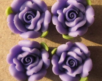 10 pcs 14 mm Polymer Clay Flower ,rose,Beads, FIMO, Pendant Charm craft jewelry Necklaces Earrings Bracelet Accessories -deep purple k6
