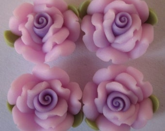 10 pcs 14 mm Polymer Clay Flower ,rose,Beads, FIMO, Pendant Charm craft jewelry Necklaces Earrings Bracelet Accessories - purple k12