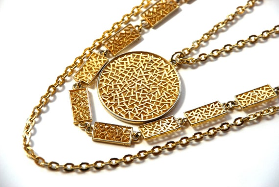 Abstract Medallion Necklace Layered Chains Vintage Jewelry