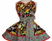Made to Order-Junk Food & Cherries Diner Style Apron --A Tie Me Up Aprons Exclusive