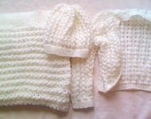 Hand Knitted White Baby Bolero Jacket With Matching Beret And Blanket