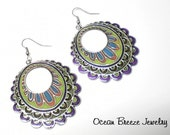 Large Cloisonne Enamel Metal Hoop Earrings - MARDIS GRAS MAGIC