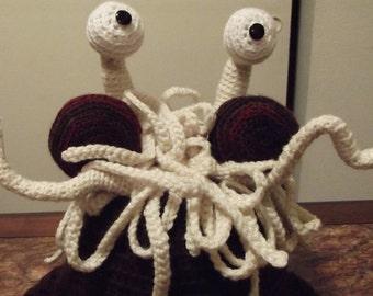 Flying Spaghetti Monster Hat with Ear Flaps - Crochet Pattern