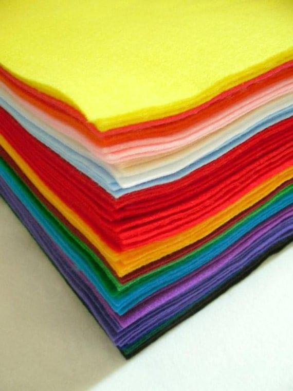 SALE  Assorted Acrylic Craft Felt 9 Inch x 12 Inch - 72 Sheets