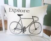 CHRISTMAS SALE Shabby chic  pillow, shabby chic, farmhouse decor, pillow, burlap pillow, bike, blue pillow, explore