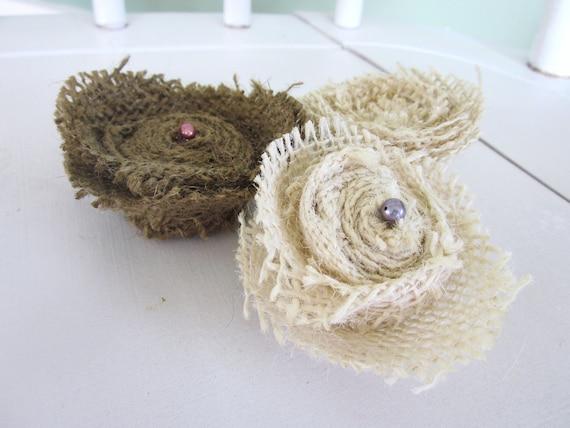 CHRISTMAS SALE Burlap flower magnets,  shabby chic magnets,magnet set, farmhouse decor, magnets, burlap flowers