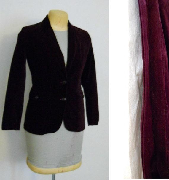 Velour Jacket / Burgundy / Maroon Fitted Blazer Vintage 70s Size Large 11