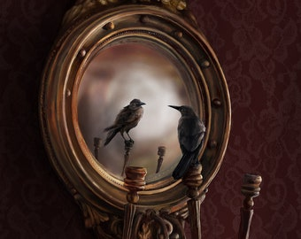 """Reflection on Perception --A 20"""" x 30"""" illustration of a black bird perched upon an ornate Victorian mirror"""