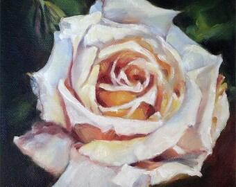 Rose Print of Original Painting, Floral Art Print, 6x6, Rose Painting, Rose Art, Pink Flower Painting