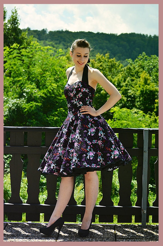 50's vintage dress full skirt  black with purple and pink flowers perfect for a petticoat Tailor Made
