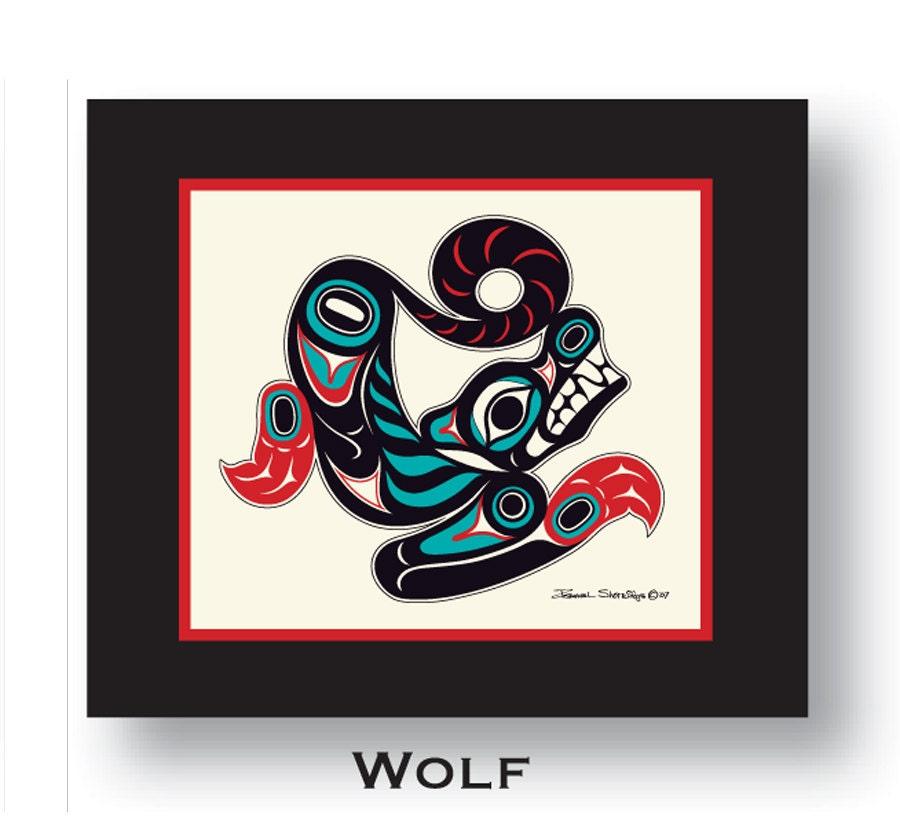 Wolf 10x12 Matted Art Print Tlingit Northwest Native American