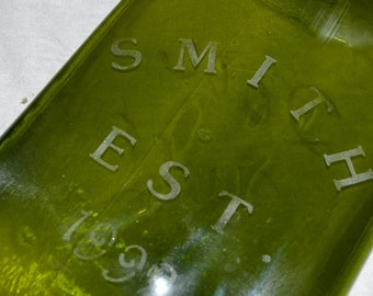 Custom Name Etched Glass Wine Bottle Cheese Tray Platter