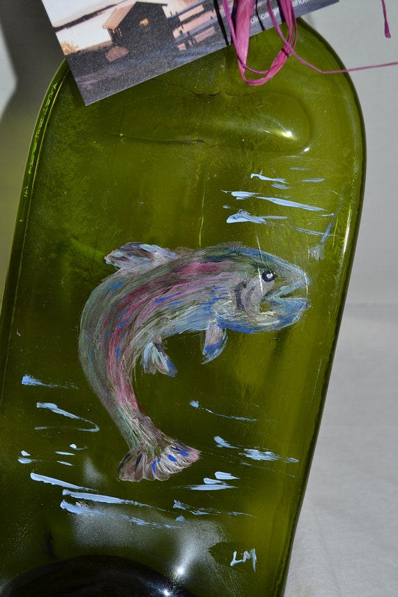 Handpainted fish wine bottle cheese appetizer tray by for Fish wine bottle