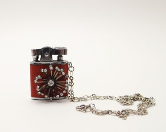 Vintage Lighter Necklace Red Leather Rhinestone Burst One of a Kind