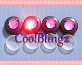 XL FUCHSIA Hot Pink Crystal on BLACK Screw Caps Covers for Rhinestone Bling License Plate Frame made w/ Swarovski Elements