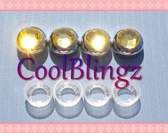 YELLOW Rhinestone Screw Caps Covers for Crystal Bling License Plate Frame