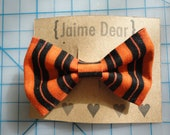 Halloween Orange and Black Stripe Fabric Hair Clip Accessory for Women, Teens, Girls