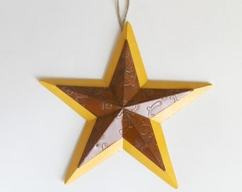 Christmas Star Decoration ,Gold Star, Gold & Metal Star, Holiday Display