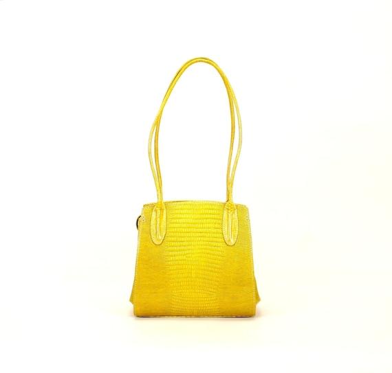 REGINA // leather shoulder bag, in yellow - lizard printed (italian calf leather) - FREE SHIPPING