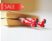 SALE. Red rainboots with white hearts. Legs in the book. Unusual art bookmark for her. Funny gift