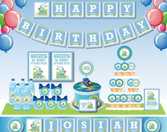Choo Choo Train Birthday Party DIY Printable Customized Full party set - Invitation and Deco- match with Thomas the train - Green and blue