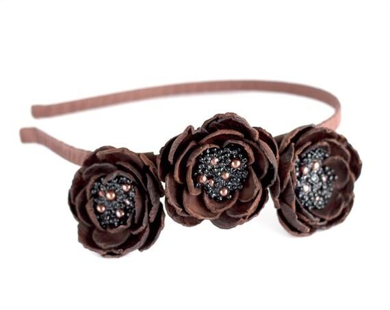 Flower head wreath, floral hair accessories, Leather flowers, Brown floral crown, Leather Headband, Woodland hair accessory. ohtteam