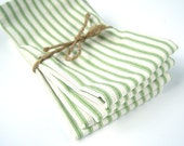 Cloth Napkins - Large Green French Ticking Stripe Cloth Napkins - Christmas Napkins - Set of 4 - Eco Friendly - Fabric Napkins