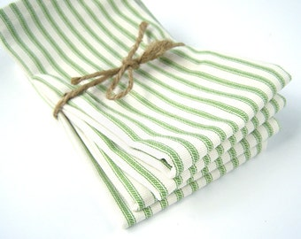Large Green French Ticking Stripe Cloth Napkins - Christmas Napkins - Set of 4 - Eco Friendly - Fabric Napkins