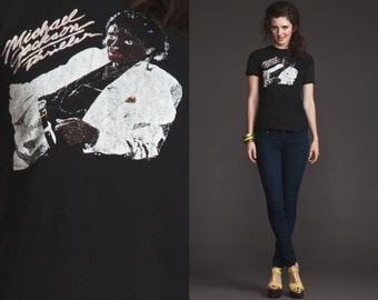 INCREDIBLE RARE Original authentic vintage Micheal Jackson Thriller T shirt//Worn Out//Xs S M//1983//Paper thin