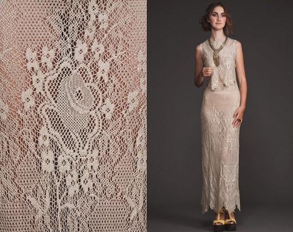 Incredible Vinage Nude Crochet Maxi dress//scallop//Fringe//M L//Art deco//90s 20s