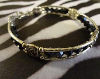Black and Silver Crystal Beaded Bracelet   Jewelry  Bracelet