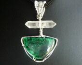 Malachite and Herkimer Diamond Pendant