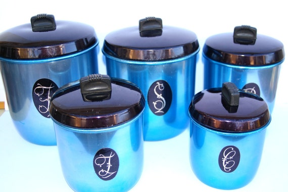 Anodised Canister Set Blue Vintage Retro Turquoise Black