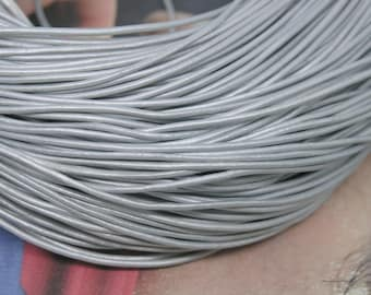 10 YARD Metallic Silver Color  Real Leather Cord Without Clasp Lobster 1.5mm