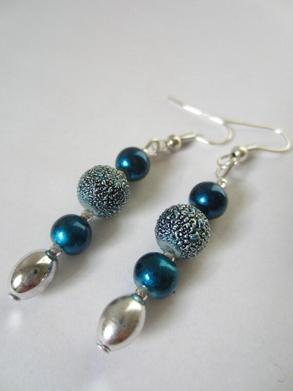 Blue Metallic Dangle Earrings