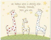 Children's Wall Art , Nursery Decor , Polka Dots Giraffes, for boys or girls, we wished upon a shinning star, 8x10 inch print