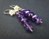 middle purple Amthyst,sterling silver dangle earrings