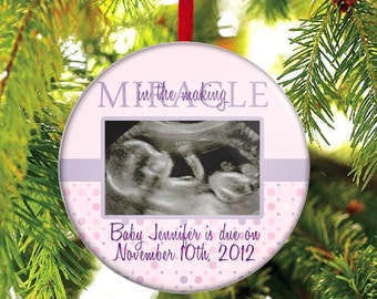 Expecting A Baby Girl Ornament - WITH YOUR PHOTO - Ultrasound Ornament - Sonogram Ornament - Miracle in the Making